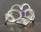 Heart infinity puzzle ring heart in sterling silver with purple amethyst cabochon