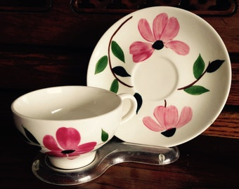 Pink Floral Painted Ceramic Teacup and Saucer