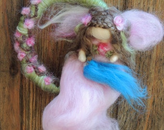 Mini Mobile Garden Fairy and her bluebird friend  Needle felted wool fairy angel Waldorf inspired by Rebecca Varon