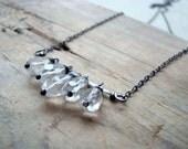Aquamarine Stack Necklace. Sterling Silver March Birthstone Minimalist Modern Metalwork Gemstone Jewelry Beachy Gifts Under 100