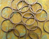 15mm Round Brass Rings - Hand Antiqued Solid Brass - Patina Queen - 5 grams