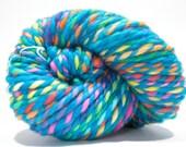 Hand Dyed Merino Wool - 2 Ply Bulky Weight Yarn – Blue Rainbow Yarn – 73 Yards