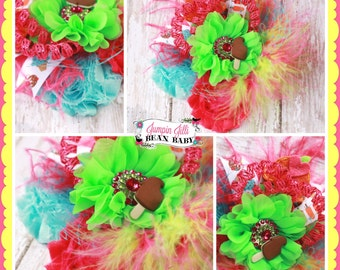 Boutique Summer Ice Cream OTT Glamour Bloom Hair Flower clip headband