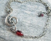Treble Clef Bracelet, Garnet Bracelet, Sterling Silver, January Brithstone, Gemstone Jewelry, Antiqued Music Note