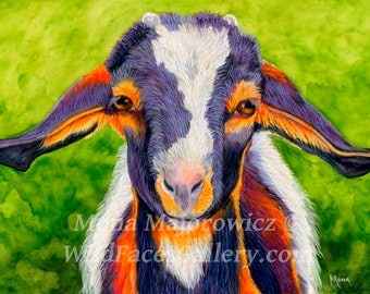 Original Baby Goat Painting, Baby Goat Art, Baby Goat Gift - Ears Looking At You Kid Nursery Decor, Baby decor, country decor, farm decor
