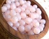 Opal Pink Czech Glass Beads Round Druk Light Milky Rose 6mm (30)