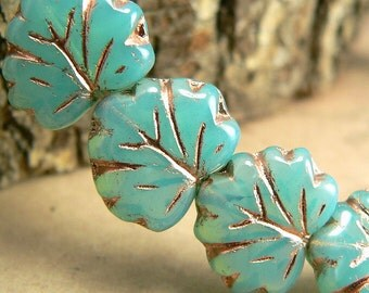 Turquoise Green Picasso Czech Glass Maple Leaf Beads 11x12mm 10 beads