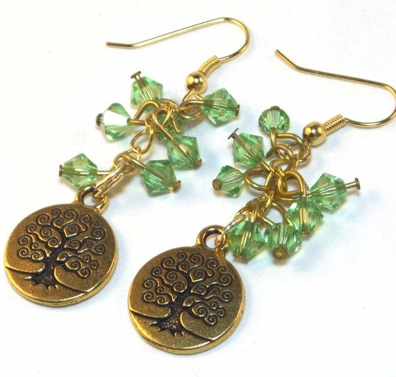 Tree of Life Green Swarovski Crystal Earrings