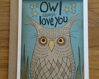 Owl Always Love You Folk Art A6 Greeting Card