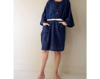 Custom Made Boho Hippie Dark Blue Cotton Short Loose Summer Casual Dress S-L  (H)