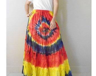 Hippie Gypsy Boho Elastic waist Colorful Tie dye Cotton Patchwork Summer Casual Long Skirt S-L (EL07)