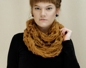 Brown scarf, bulky chunky scarf, brown loop scarf,  loop infinity scarf shawl shrug handknit. All sizes warm winter steampunk fashion MASQ
