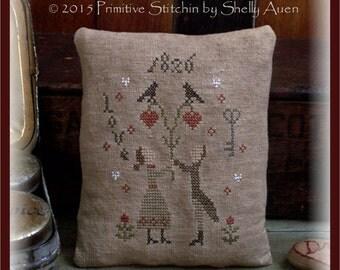 Hearts Unite Valentine Pillow Keep Cross Stitch E-Pattern PDF