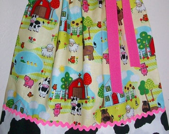 Pillowcase Dress Down on the Farm Country Dress with Cows Farm Animals Dress Baby Dresses Summer Dresses Farm Birthday Party