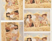 5 Pixie Paper PRINTS Naked FARM Girls