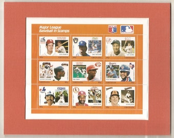 Old Matted MAJOR League BASEBALL in STAMPS
