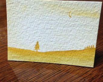 ACEO original watercolor painting Gold Isolation 2 - art