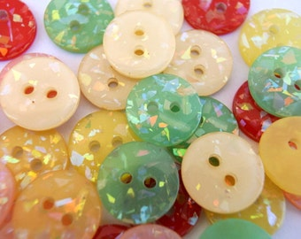 30 VINTAGE buttons with inside glitters 5 colors, 14mm