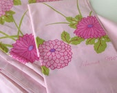 Vintage hanai mori hawaiian twin sheet set pink peonies and birds flat sheet and one pillowcase