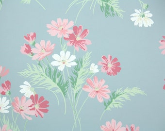 1940s Vintage Wallpaper by the Yard - Pink and White Daisies on Blue