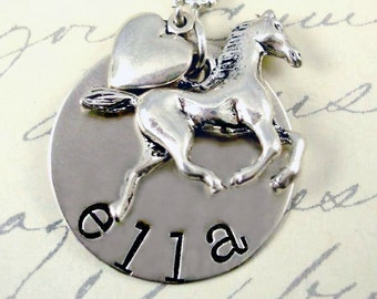 Horse Lover  Hand Stamped Necklace Children Personalized Sterling Silver Cowgirl Heart