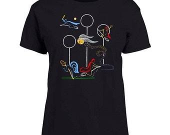 Ladies Black T-shirt Quidditch Game Harry Potter Fan Art Sizes XS-2X