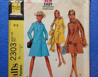 1970 Coat Pattern McCall's 2303 Size 16 Bust 38 Lined Trench Overcoat A Line