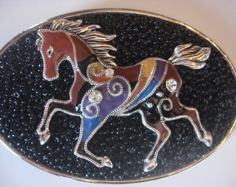 Beaded Belt Buckle - Horse Buckle - Womens belt  buckle