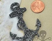 XXL ANCHOR PENDANT - Black Glitter Laser Cut Acrylic - Charm - Cabochon - Flatback