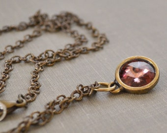 Amethyst Rivoli Necklace, Antique Brass, Light Amethyst, Swarovski Crystal Necklace, Boho Layering Necklace, Bridesmaid Jewelry Gift