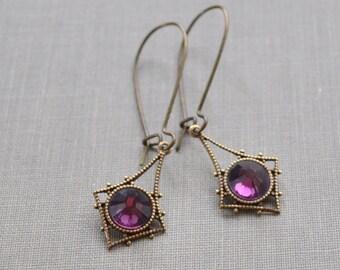 Victorian Earrings, Amethyst Crystal, Brass Victorian Kidney Wire, Diamond Setting, Purple Rhinestone Earrings, Bridal Party Gift