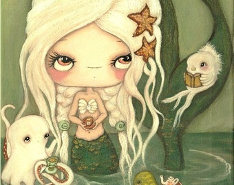 Mermaid Art Print Nautical Tea Octopus, Fish Sea Turtle Girl Wall Art ---Tea At Sea