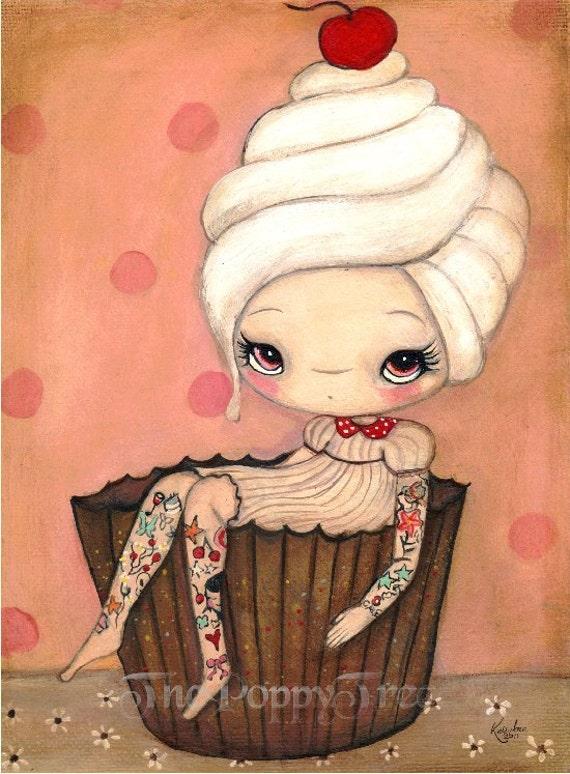 Cupcake Print Cake Art Tattoo Girl Wall Kitchen Art Decor---Tattood Cupcake Girl