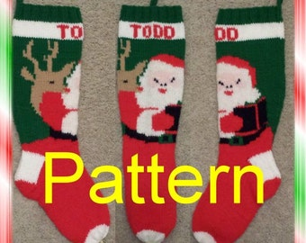 Santa And Reindeer Knit Christmas Stocking Pattern *NEW FOR 2015*