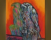 Art Painting Canvas -- The Maltese Falcon -- 22 x 28 inch Original Oil Painting by Elizabeth Graf