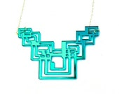 Geometric Necklace Tron-Inspired Teal Mirror Acrylic on Sterling SIlver Chain