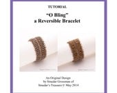 Beading Tutorial, Fringe O Bling - Reversible Bracelet. Beading Pattern with O beads and Crystals. Beadweaving Pattern by Smadar Grossman