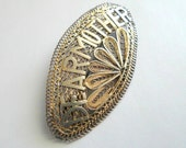 Sterling Silver Filigree Brooch MOTHER Jewelry