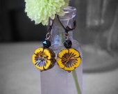 Yellow Flower Earrings - Mustard Yellow, Glass Pansy Dangle Earrings, Gift for her