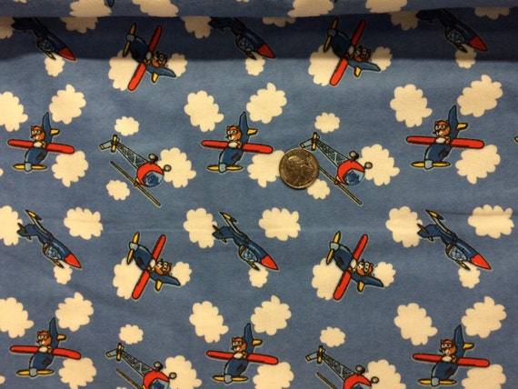 Airplanes on flannel cotton woven fabric 1 yard by nrfabrics for Airplane fabric by the yard