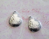 NEW 2 Small Silver Teardrop Charms 3634