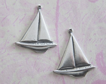 NEW 2 Silver Sailboat Charms 3625