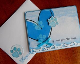 Dog sympathy, cat sympathy, pet sympathy, tones of blue, blue sky, complete outside, complete inside, handmade, balsampondsdesign, sympathy
