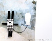 Checkerboard - Bunny pin - Balloon pin - Cute brooch