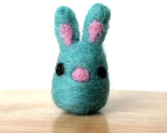 Needle Felted Teal Bunny Rabbit Miniature Soft Figure - Made to Order - Easter Gift or Decor - Tiny Felt Egg Shaped Bunny Art Doll