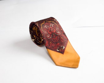 Men's Necktie / Burnt Orange Floral