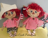 Primitive Folk Art Americana Ann and Andy mini dolls