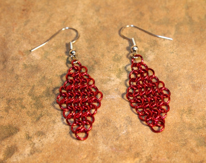 Chainmaille Earrings - Red European 4-on-1