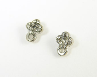 Tiny Cross Earring Findings Clear Silver Rhinestone Earring Posts DIY Stud Earring Post with Loop |S14-3|2