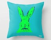 Pillow - Decorative throw pillows - rabbit Pillow cover - Blue and green pillow- Modern pillow - cushion - nursery pillow - Bunny pillow
